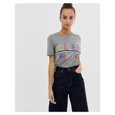Pieces Anna celfie slogan t-shirt