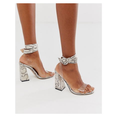 Public Desire Commit flared block heeled sandals in natural snake