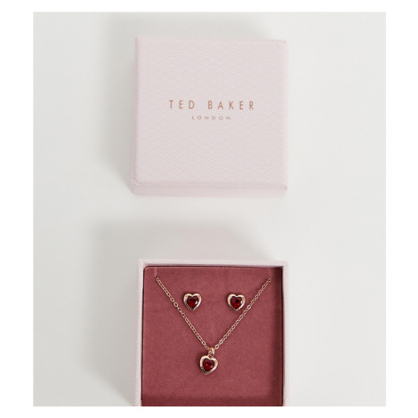 Ted Baker gold red crystal heart earrings & pendant gift set