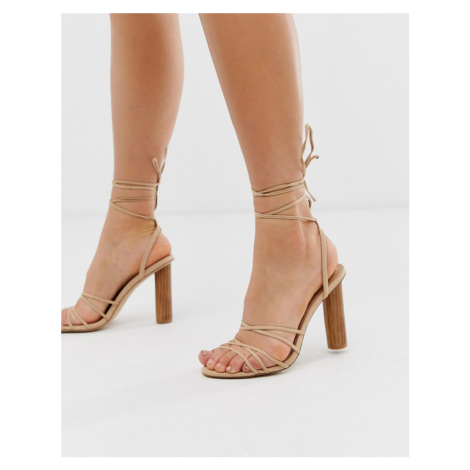 Office Heartbeat light pink tie up heeled sandals with cylindrical heel