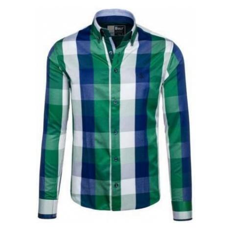 Koszula męska w kratę z długim rękawem zielona Bolf 4701-2