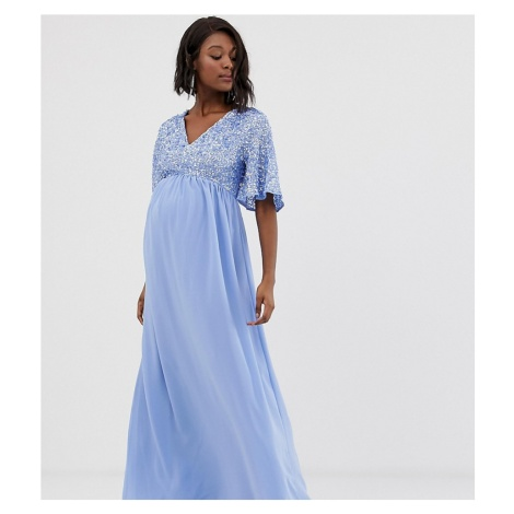 Maya Maternity sequin top maxi dress with flutter sleeve detail in bluebell