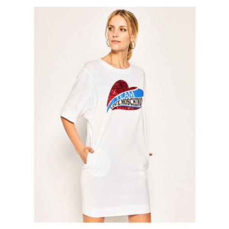 LOVE MOSCHINO Sukienka codzienna W5B4002M 3876 Biały Regular Fit