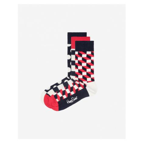 Happy Socks Stripe 3-pack Skarpetki Niebieski Czerwony