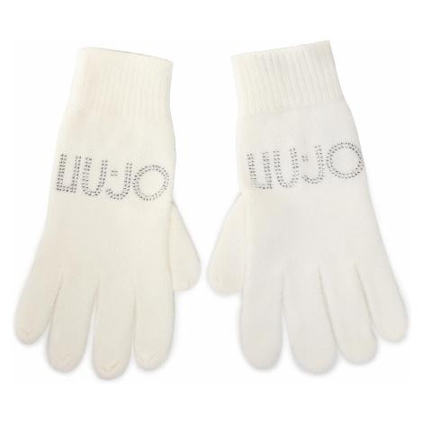 Rękawiczki Damskie LIU JO - Guanti Maglia Logo S 2F0011 M0300 Bianco Lana 10701