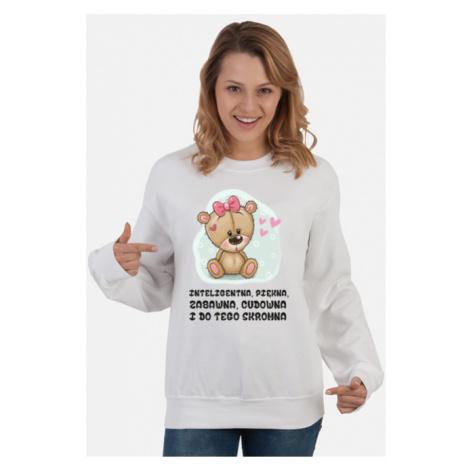 Bluza damska inteligentna, piękna, zabawna - biała