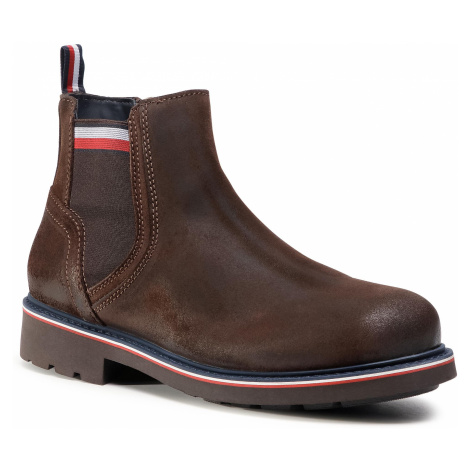 Trzewiki TOMMY HILFIGER - Corporate Elastic Suede Boot FM0FM03053 Cocoa GT6