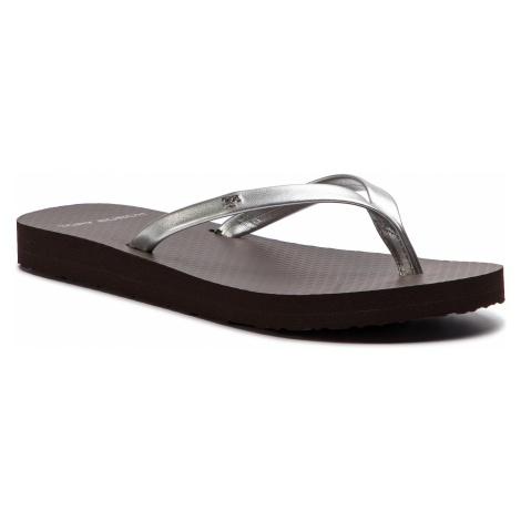 Japonki TORY BURCH - Metallic Leather Flip Flop 54890 Silver/Demi Tasse 040