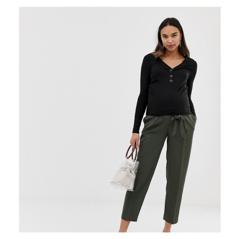 New Look Maternity tie waist trousers in mid green
