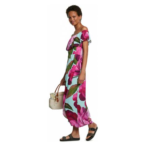 Desigual różowy maxi letnia sukienka Vest Arles