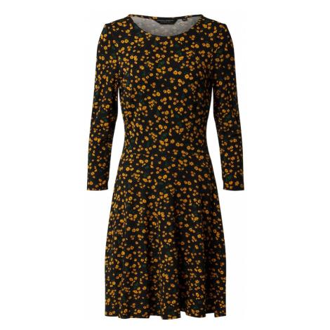 Dorothy Perkins Sukienka 'JERSEY CREW NECK DITSY FLORAL FIT AND FLARE' żółty / czarny
