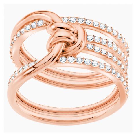 Szeroki pierścionek Lifelong, biały, w odcieniu różowego złota Swarovski