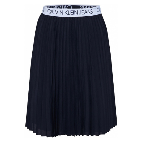 Calvin Klein Jeans Spódnica 'LOGO ELASTIC PLEATED' czarny / biały