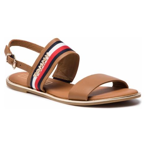 Sandały TOMMY HILFIGER - Flat Sandal Corporate Ribbon FW0FW04049 Summer Cognac 929