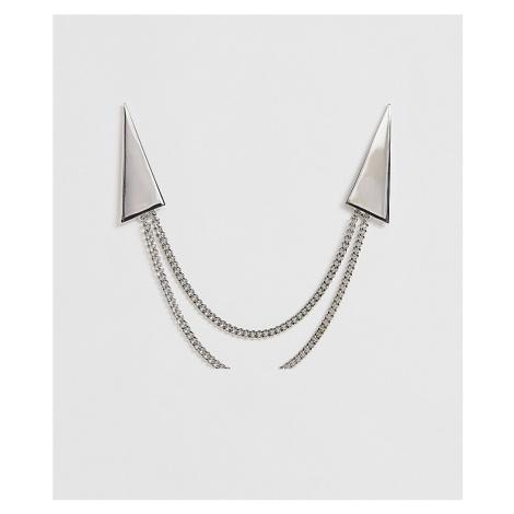 ASOS DESIGN minimal triangle collar tips in silver tone