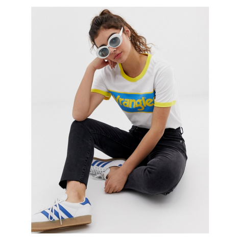 Wrangler blue & yellow ringer t-shirt with front box logo