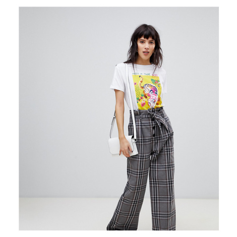 Stradivarius check wide trouser with tie waist detail