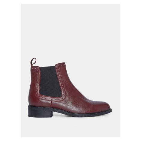 Burgundowe skórzane buty chelsea od Dorothy Perkins
