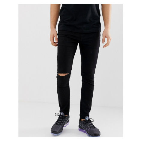 Pull&bear super skinny jeans in black with knee rips Pull & Bear