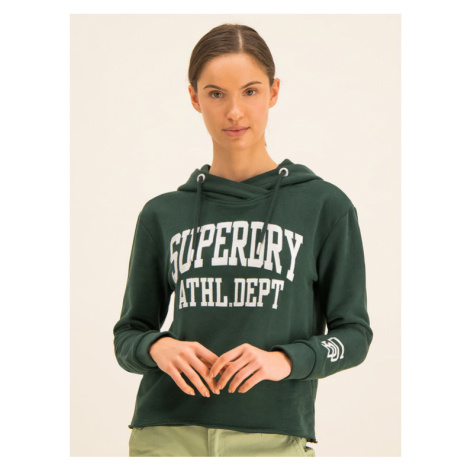 Superdry Bluza Super Arch App College Crop W2000099A Zielony Regular Fit