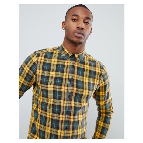 ASOS DESIGN regular fit check shirt with acid wash