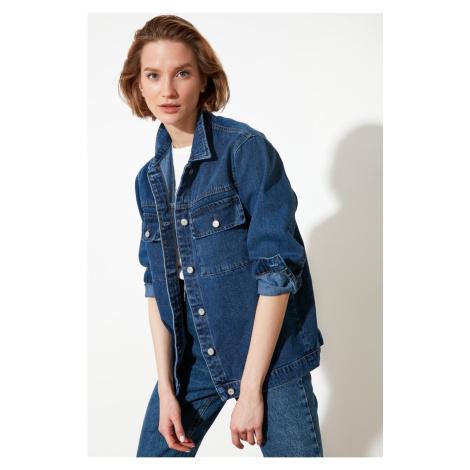 Trendyol Navy Blue Pocket Szczegółowo Jeansowa kurtka