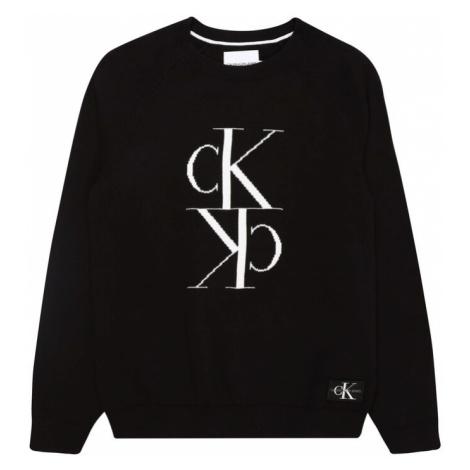 Calvin Klein Jeans Sweter 'MIRROR' czarny / biały