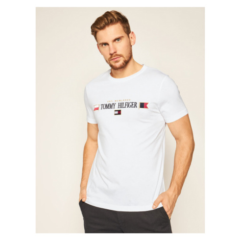 TOMMY HILFIGER T-Shirt Mirrored Flags MW0MW15325 Biały Regular Fit