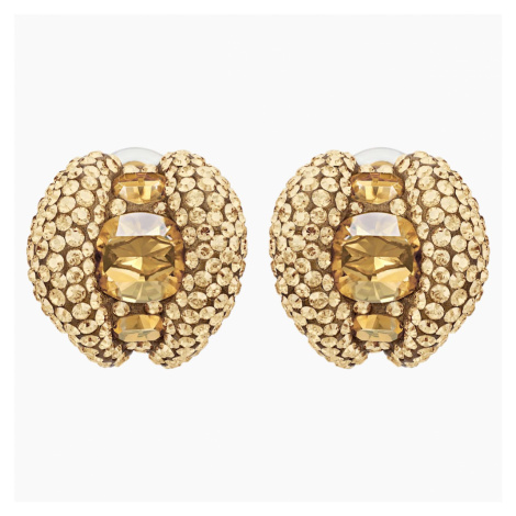 Tigris Stud Clip Earrings, Gold tone, Gold-tone plated Swarovski