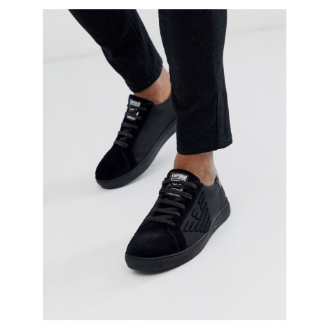 Emporio Armani large embossed eagle logo trainers in black