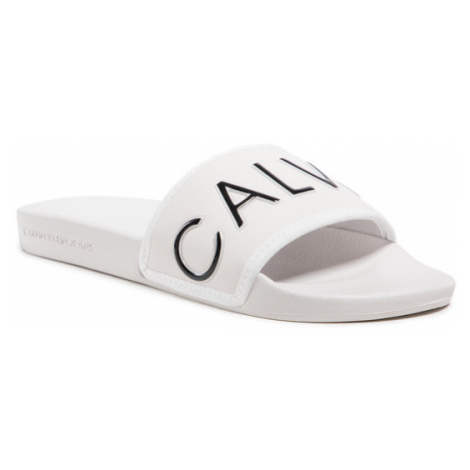 Calvin Klein Jeans Klapki Slide Padded Ck Pes-Pu YW0YW00131 Beżowy