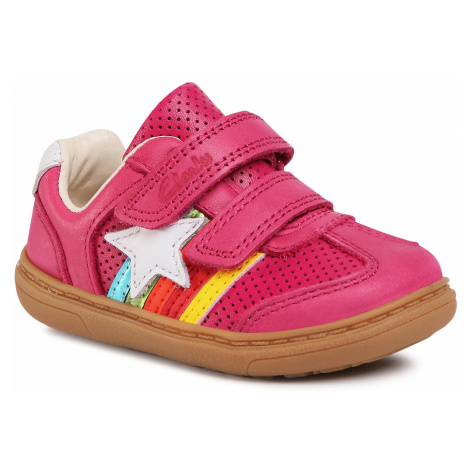 Sneakersy CLARKS - Flash Heat T 261526386 Pink Leather