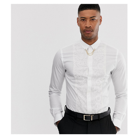 Twisted Tailor tall super skinny fit shirt with lace panel in white