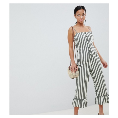 ASOS DESIGN Petite cotton frill hem jumpsuit with square neck and button detail in stripe