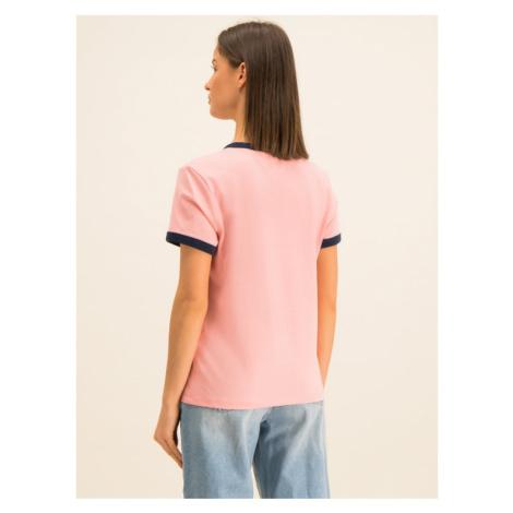 Tommy Jeans T-Shirt Badge Ringer DW0DW07226 Różowy Regular Fit Tommy Hilfiger