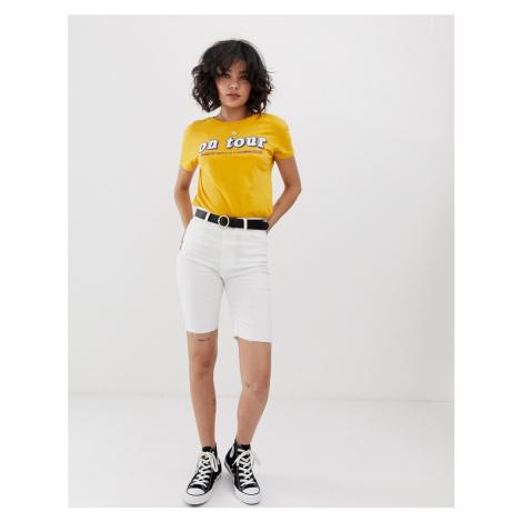 Pull&Bear denim legging short in white Pull & Bear