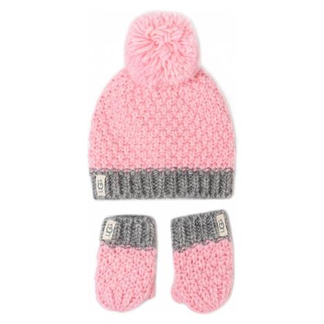 Zestaw Czapka i Rękawiczki UGG - K Infant Knit Hat And Mitt Set 18802 Seashell Pink