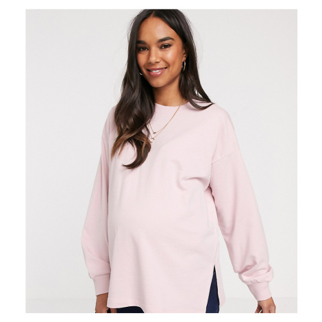ASOS DESIGN Maternity super oversized lightweight sweat with side splits in lilac