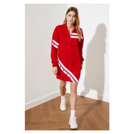 Trendyol Red Print Sweat Dzianted Dress