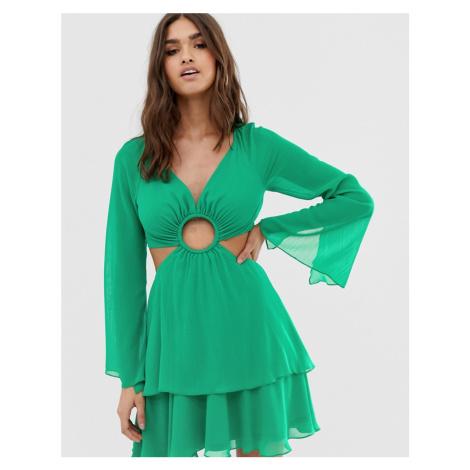 ASOS DESIGN mini dress with long sleeve and circle trim detail