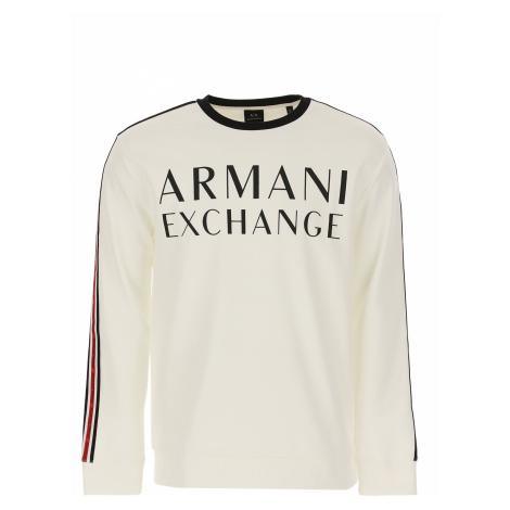 Armani Exchange Sweter dla Mężczyzn, biały, Bawełna, 2019