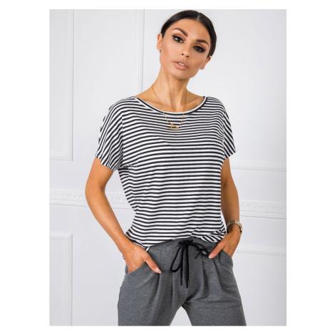 RUE PARIS Czarno-biały t-shirt w paski