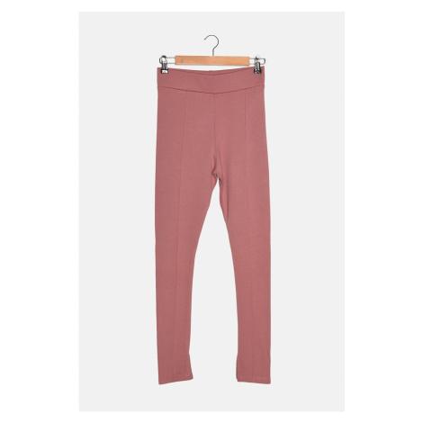 Trendyol Suszone Różowe Żeberka Szczegółowe Legginsy z Dzianiny