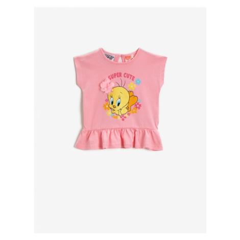 Koton Girl Tweety Tshirt Ruffled Cotton