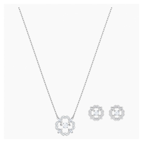Set Sparkling Dance Flower, bianco, Placcatura rodio Swarovski