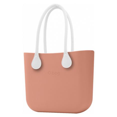 O bag torebka MINI Rouge/Phard z długimi białymi uchwytami ze skajki
