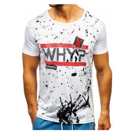 T-shirt męski z nadrukiem biały Denley KS1832 J.STYLE