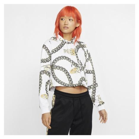 Krótka damska bluza z kapturem Nike Sportswear Icon Clash - Biel