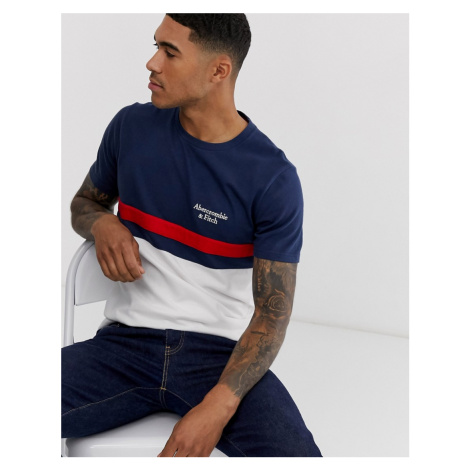 Abercrombie & Fitch americana colourblock chest stripe logo t-shirt in navy