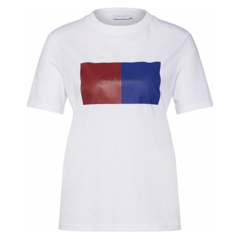 Calvin Klein Koszulka 'DUO LOGO PRT T-SHIRT SS' niebieski / czerwony / biały